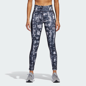 ADIDAS PERFORMER ICE PLAID-PRINT HIGH-RISE TIGHTS WOMEN'S